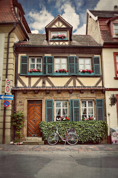 A quaint Tudor style house with a bicycle, Bamberg, Germany