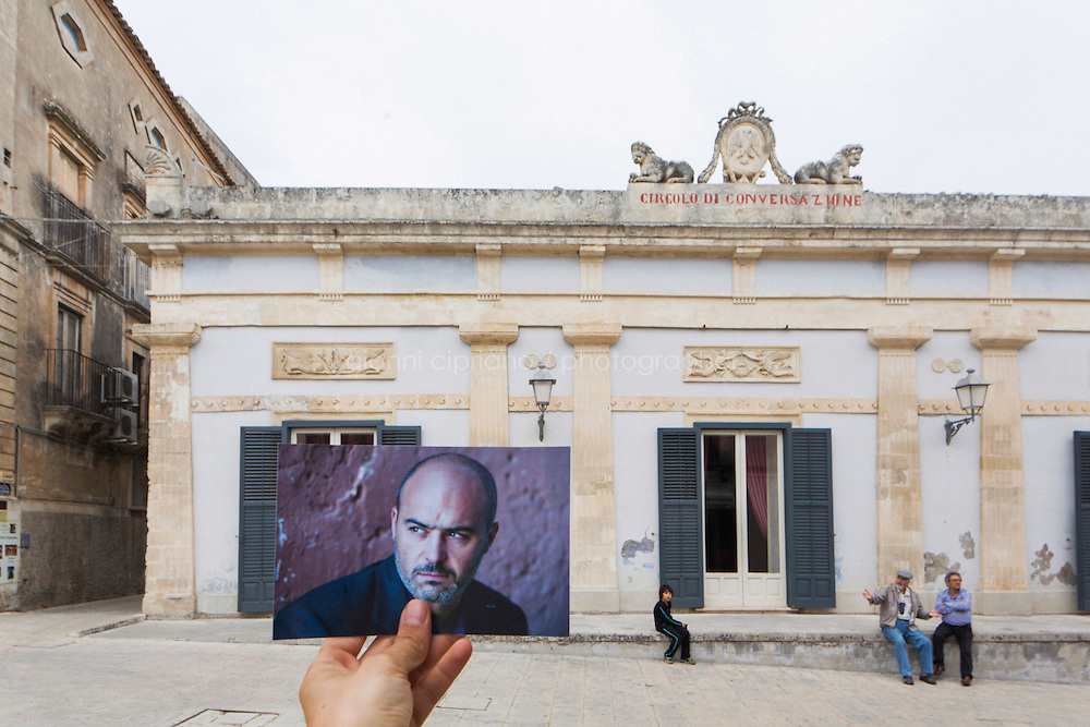 """RAGUSA IBLA, ITALY - 22 OCTOBER 2014: The Circolo della Conversazione, a building where scenes of the TV series """"Il Commissario Montalbano"""" have been shot, by Piazza Duomo in Ragusa Ibla, Italy, on October 22nd 2014."""