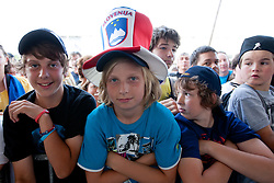 Fans at Slovenian ice-hockey player NHL Champion Anze Kopitar welcome ceremony when he arrived home after winning Stanley Cup at the end of season 2011/2012, on June 20, 2012, at airport Jozeta Pucnika, Brnik, Slovenia. (Photo By Matic Klansek Velej / Sportida)
