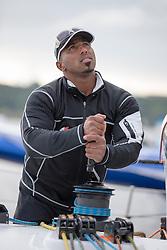 Sami Al Shukaili (OMA) before the race. Oman Sail's MOD70 Musandam races in the Eckernförde race at  Kiel week 2014, 21-06-2014, Kiel - Germany.