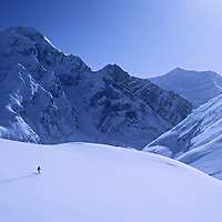 A Ski Mountaineers crosses Warwan pass, en route from Ladakh to Kashmir during an expedition across India's Great Himalaya Range.