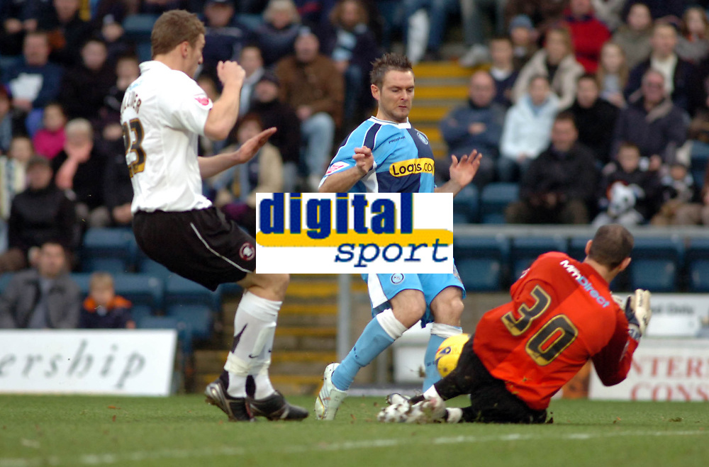 Photo: Kevin Poolman.<br />Wycombe Wanderers v Hereford United. Coca Cola League 2. 01/01/2007. Tony McParland of Wycombe has a good chance saved by Hereford keeper Wayne Brown.