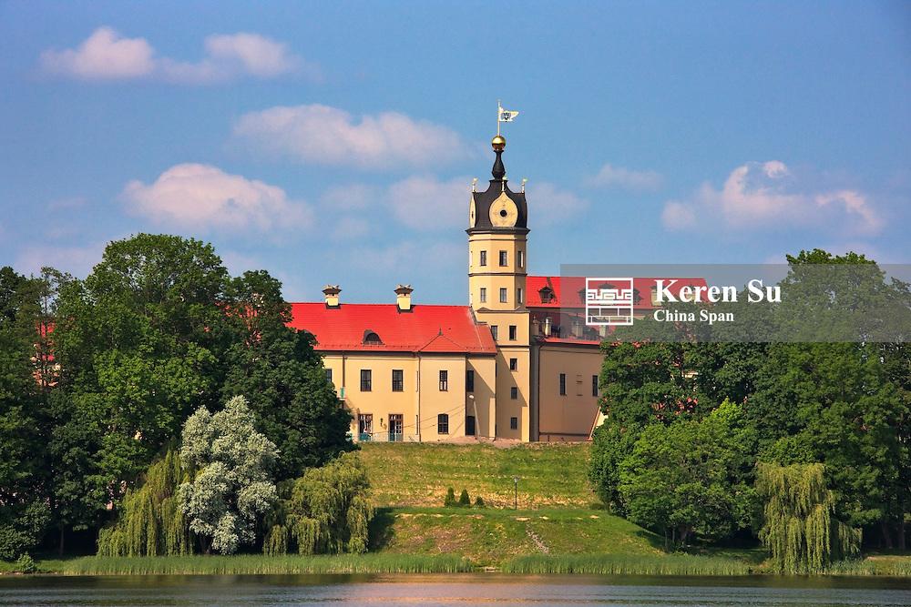 Nesvizh Castle (a residential castle of the Radziwill family) along the Neman River, UNESCO World Heritage site, Minsk Province, Belarus