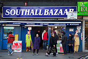 Southall Bazaar on Southall Broadway in West London, also known as 'Little India' by some, is an area almost completely populated by people from South Asia. Figures show that the area is approximately 50 percent Indian in origin although walking the streets it would appear far higher as the local people go about their shopping in the many shops specialising in goods specific to this culture. The mix of religions is mainly Sikh, Hindu and Muslim.<br /> <br /> Southall is primarily a South Asian residential district. 1950 was when the first group of South Asians arrived in Southall, reputedly recruited to work in a local factory owned by a former British Indian Army officer. This South Asian population grew due to the closeness of expanding employment opportunities. The most significant cultural group to settle in Southall are Indian Punjabis.