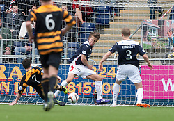 Alloa Athletic's Kevin Cawley scoring their goal.<br /> Half time : Falkirk 1 v 1 Alloa Athletic, Scottish Championship game played today at The Falkirk Stadium.<br /> © Michael Schofield.