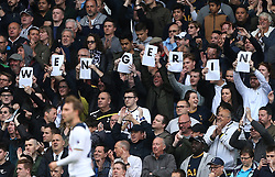 30 April 2017 London : Premier League Football : Tottenham Hotspur v Arsenal :<br /> Tottenham fans hold up letters to spell out 'Wenger In' as an insult to Arsenal manager Arsene Wenger.<br /> Photo: Mark Leech