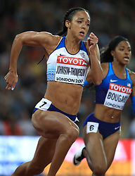 Great Britain's Katarina Johnson-Thompson competes in heat 4 of the 200m event of the women's Heptaphlon during day two of the 2017 IAAF World Championships at the London Stadium.