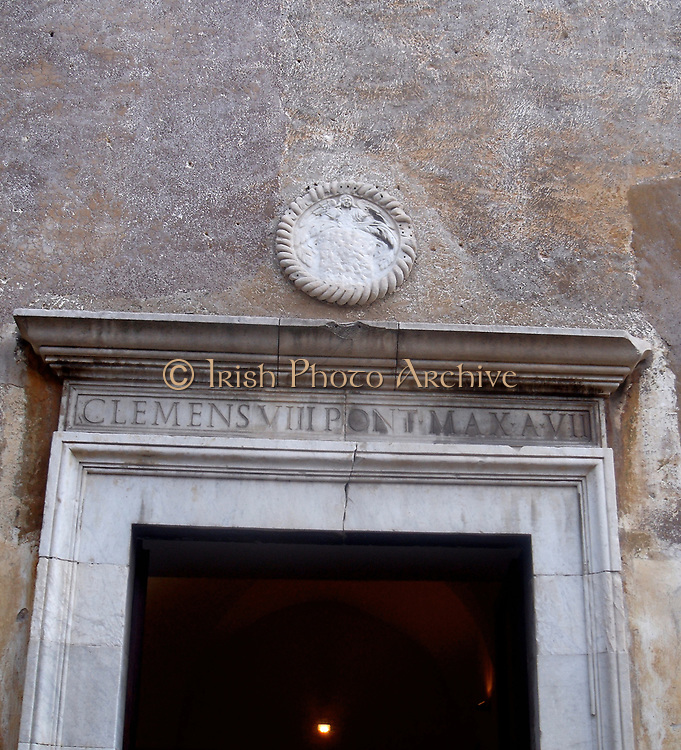 Decorative detail from the area surrounding Castel Sant'Angelo and the Ponte Sant'Angelo in Rome, Italy. Many decorative sculptural and architectural details adorn the length of the bridge, as well as the area surrounding it and the Castel Sant'Angelo. This image shows an emblem.