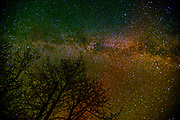 Milky Way and northern lights in night sky over Klotz Lake<br /> Klotz Lake near Longlac<br /> Ontario<br /> Canada