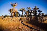 Sunset casts a long shadow across the dirt road leading to Ait Bounou, an ancient kasbah, or fortified village, in the Moroccan Sahara. The town is quickly falling into ruin as the inhabitants flee the drying well and the advancement of the dunes expedited by a 16-year drought and the damming of the Draa River.