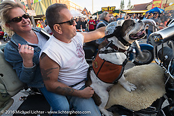 Leo Ashton of Fiskeville, RI rides down Main Street with his dog Diesel during the Daytona Bike Week 75th Anniversary event. FL, USA. Saturday March 5, 2016.  Photography ©2016 Michael Lichter.