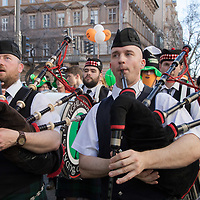 People participate in a Saint Patrick's day celebration march in downtown Budapest, Hungary on March 17, 2019. ATTILA VOLGYI