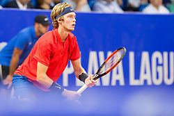 Andrey Rublev from Russia during a tennis match against the <br /> Paolo Lorenzi from Italy in Final of singles at Plava Laguna Croatia Open Umag, on July 23, 2017 in Stadium Gorana Ivanisevica, Umag, Croatia. Photo by Urban Urbanc / Sportida