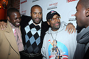 """l to r: Bro. Hausan, Londell McMillan, Spike Lee and Radiant at The Russell Simmons and Spike Lee  co-hosted""""I AM C.H.A.N.G.E!"""" Get out the Vote Party presented by The Source Magazine and The HipHop Summit Action Network held at Home on October 30, 2008 in New York City"""