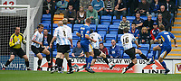 Photo: Steve Bond.<br /> Shrewsbury Town v Chesterfield. Coca Cola League 2. 13/10/2007. dave Hibbert (R, no9) fires Shrewsbury in front