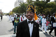 September 16, 2012- Harlem, New York: Parade Participant at the 42nd Annual African American Day Parade held along Adam Clayton Blvd on September 16, 2012 in Harlem New York City. The first African American Day Parade was held in September 1969 in Harlem. The first Grand Marshal was Congressman Adam Clayton Powell, Jr. The purpose of the parade is to provide an opportunity for African people to join together on a Special Day to highlight history and salute African people throughout America and the world for their outstanding achievements.  (Terrence Jennings)
