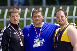 Marko Spiler, Miro Vodovnik and Luka Gorjup at medal ceremony after the shot put at Slovenian National Championships in athletics 2010, on July 17, 2010 in Velenje, Slovenia. (Photo by Vid Ponikvar / Sportida)