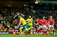 Barnsley goalkeeper Adam Davis (1) pinches the ball clear during the EFL Sky Bet Championship match between Norwich City and Barnsley at Carrow Road, Norwich, England on 18 November 2017. Photo by Phil Chaplin.