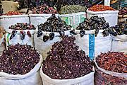 Dried chili peppers at Benito Juarez market in Oaxaca, Mexico.