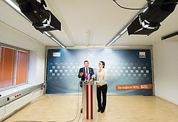 28.05.2014, BZOe Pressesaal, Wien, AUT, BZOe, Pressekonferenz zum Thema: Zukunft des BZOe. im Bild v. l.n. r. BZOe Obmann Gerald Grosz und BZOe Spitzenkandidaten zur EU- Wahl Angelika Werthmann // f. l.t. r. BZOe- Chief Gerald Grosz and BZOe Topcandidate for EU Election Angelika Werthmann during BZOe press conference about the future of BZOe at BZOe Pressroom in Vienna, Austria on 2014/05/28. EXPA Pictures © 2014, PhotoCredit: EXPA/ Michael Gruber