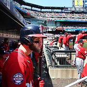 Bryce Harper, Washington Nationals, in the dugout preparing to bat during the New York Mets Vs Washington Nationals MLB regular season baseball game at Citi Field, Queens, New York. USA. 3rd May 2015. Photo Tim Clayton