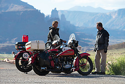 Dave Volnek with Jeff Lauritsen's 1934 Harley-Davidson VLD and Vinnie Grasser with his 1930 Harley-Davidson VL pull over to take in the beautiful scenery along Utah Highway 128 along the Colorado River north of Moab during stage 11 (289 miles) of the Motorcycle Cannonball Cross-Country Endurance Run, which on this day ran from Grand Junction, CO to Springville, UT., USA. Tuesday, September 16, 2014.  Photography ©2014 Michael Lichter.