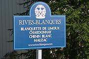 Blanquette de Limoux, Chardonnay, Chenin Blanc, Mauzac. Chateau Rives-Blanques. Limoux. Languedoc. France. Europe.