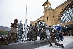 © licensed to London News Pictures. London, UK 26/09/2013. Street entertainers working at King's Cross Square as the square opens today and becomes London's newest public space. Photo credit: Tolga Akmen/LNP