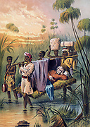 David Livingstone (1813-1873) Scottish missionary and African explorer being carried 'The Last Mile' to die at his African home in Ujiji, Tanganyika. Chromolithograph from 'The Life and Explorations of David Livingstone', c1880