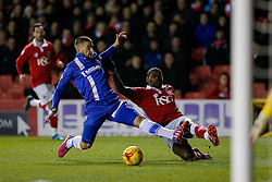 Jay Emmanuel-Thomas of Bristol City is challenged by Max Ehmer of Gillingham in front of goal - Photo mandatory by-line: Rogan Thomson/JMP - 07966 386802 - 29/01/2015 - SPORT - FOOTBALL - Bristol, England - Ashton Gate Stadium - Bristol City v Gillingham - Johnstone's Paint Trophy Southern Area Final Second Leg.