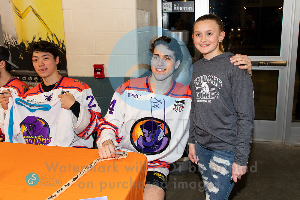 The Youngstown Phantoms lose 5-1 to the Waterloo Black Hawks at the Covelli Centre on February 29, 2020.<br /> <br /> Reilly Funk, forward, 94; John Larkin, defenseman, 27