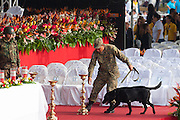 A soldier with a bomb sniffing dog inspects the area around the alter at San Salvador's Plaza Salvador del Mundo - site of the martyred Archbishop Romero's beatification mass. No violence was reported at Saturdsy's event. El Salvador celebrated the ceremony and mass announcing the beatification of Archbishop Oscar Romero. The Archbishop was slain at the alter of his Church of the Divine Providence by a right wing gunman in 1980. Oscar Arnulfo Romero y Galdamez became the fourth Archbishop of San Salvador, succeeding Luis Chavez, and spoke out against poverty, social injustice, assassinations and torture. Romero was assassinated while offering Mass on March 24, 1980.