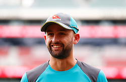Australia's Nathan Lyon during a training session at the Adelaide Oval, Adelaide.