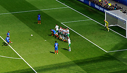 Antoine Griezmann of France fires a free kick towards goal  - Mandatory by-line: Joe Meredith/JMP - 26/06/2016 - FOOTBALL - Stade de Lyon - Lyon, France - France v Republic of Ireland - UEFA European Championship Round of 16