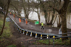 © Licensed to London News Pictures. 01/02/2021. Weybridge, UK. Flood defences being installed along the river Thames at Weybridge in Surrey. Extra precautionis being taken because In 2014 Weybridge and the surrounding area was badly hit by flooding. Photo credit: Ben Cawthra/LNP