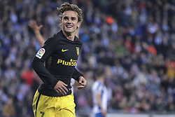April 22, 2017 - Barcelona, Spain - Antoine Griezmann celebrates scoring the goal during the match between RCD Espanyol vs Atletico Madrid, for the round 33 of the Liga Santander, played at RCD Espanyol Stadium on 22th April 2017 in Barcelona, Spain. (Credit Image: © Anna Trigueros/NurPhoto via ZUMA Press)