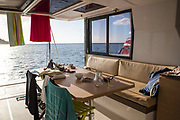 The daily life while travelling by boat in the French Caribbean aboard a Catamaran charter boat