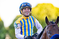 HOT SPRINGS, AR - MAY 02:  Jockey Martin Garcia rides #5 Nadal smiles after winning the 84th running of The Arkansas Derby Grade 2 at Oaklawn Racing Casino Resort on Derby Day during the Covid-19 Pandemic on May 2, 2020 in Hot Springs, Arkansas. (Photo by Wesley Hitt/Getty Images)