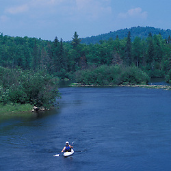 Errol, NH. Kayaking on the Androscoggin River near Seven Islands Bridge.  13 Mile Woods.  Northern Forest, Great North Woods.