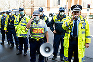 Police request protesters to move from College St Sydney or be arrested during the Black Lives Matter rally. This event was organised to rally against black deaths in custody in Australia as well as George Floyd, an unarmed black man killed at the hands of a police officer in Minneapolis, Minnesota and David Dungay who died in custody at Long Bay prison in Sydney. (Photo by Pete Dovgan/ Speed Media)