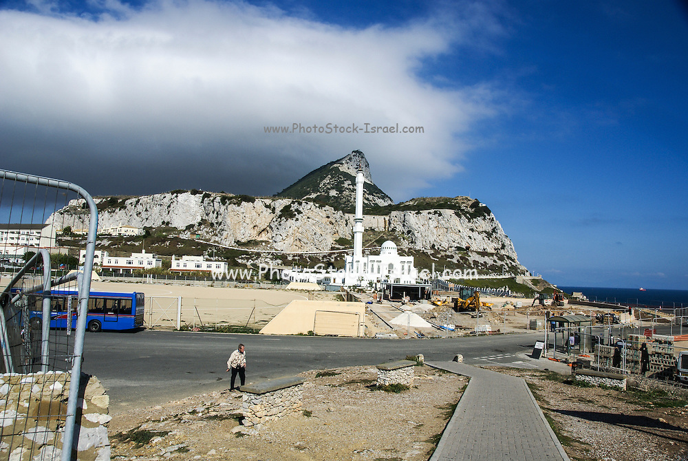 Gibraltar, Europa point in front of Rock of Gibraltar, Ibrahim-al-Ibrahim Mosque, AKA Mosque of the Custodian of the Two Holy Mosques