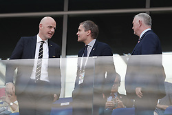 (L-R) FIFA President Gianni Infantino, Chief Executive of the FA Martin Glenn,  Communications Director of the FA Robert Sullivan during the 2018 FIFA World Cup Russia group G match between England and Panama at the Nizhny Novgorod stadium on June 24, 2018 in Nizhny Novgorod, Russia