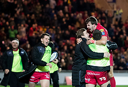 Scarlets' Dan Jones celebrates scoring his sides third try<br /> <br /> Photographer Simon King/Replay Images<br /> <br /> European Rugby Champions Cup Round 6 - Scarlets v Toulon - Saturday 20th January 2018 - Parc Y Scarlets - Llanelli<br /> <br /> World Copyright © Replay Images . All rights reserved. info@replayimages.co.uk - http://replayimages.co.uk