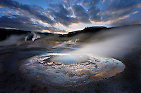 Mustard Spring at sunset, Biscuit Basin, Yellowstone National Park, Wyoming USA
