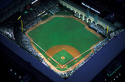 Stock photo of the aerial view of Minute Maid Park during a night Houston Astros baseball game