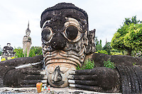 Sala Keoku park features large, extraordinary concrete sculptures inspired by Buddhism and Hinduism.  The park reflects the vision of Bunleua Sulilat - a Lao mystic and sculptor.  It shares the vision of Buddha Park on the Lao side of the Mekong - Sulilat's earlier creation.  Some feel that the most interesting part of the park is the Wheel of Life, a cluster of sculptures representing the cycle of birth and death.