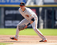 CHICAGO - SEPTEMBER 10:  Ryder Jones #63 of the San Francisco Giants fields against the Chicago White Sox on September 10, 2017 at Guaranteed Rate Field in Chicago, Illinois.  The White Sox defeated the Giants 8-1.  (Photo by Ron Vesely) Subject:   Ryder Jones