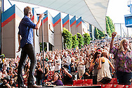 Lady Antebellum is an American country trio with members Hillary Scott, Charles Kelley and Dave Haywood. They perform on May 29, 2010 at the Shoreline Amphitheater in Mountainview, California.