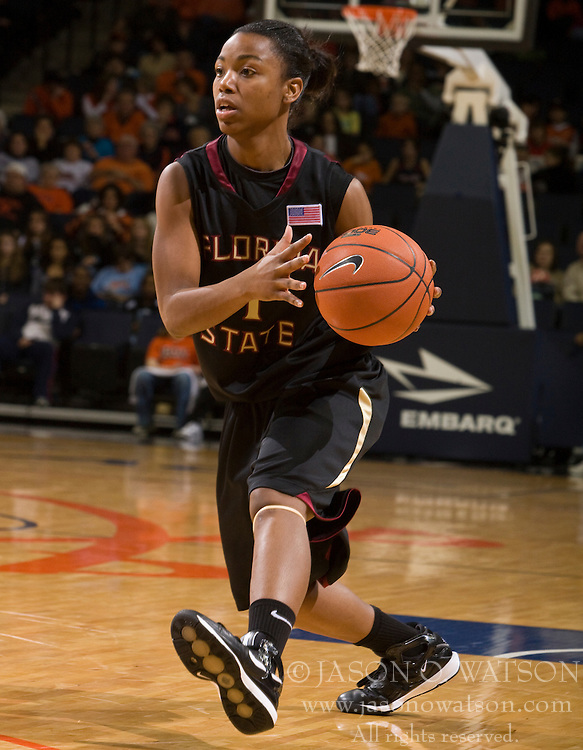Florida St. guard Angel Gray (1) in action against UVA.  The #16 ranked Virginia Cavaliers fell to the #22 ranked Florida State Seminoles 80-75 in NCAA Women's Basketball at the John Paul Jones Arena on the Grounds of the University of Virginia in Charlottesville, VA on January 23, 2009.