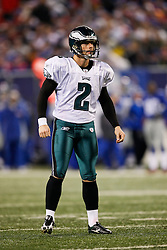 Philadelphia Eagles PK David Akers #2 during the NFL game between the Philadelphia Eagles and the New York Giants on December 13th 2009. The Eagles won 45-38 at Giants Stadium in East Rutherford, New Jersey. (Photo By Brian Garfinkel)